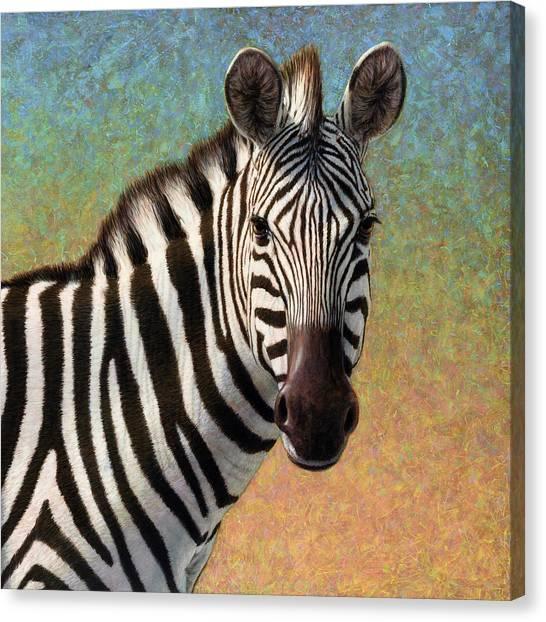 Realistic Canvas Print - Portrait Of A Zebra - Square by James W Johnson
