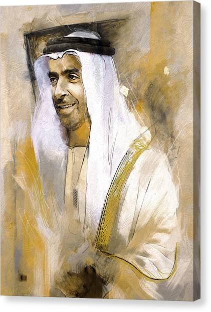 Emir Canvas Print - Portrait Of Abdullah Bin Zayed Al Nahyen 3 by Maryam Mughal