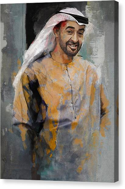 Emir Canvas Print - Portrait Of Abdullah Bin Zayed Al Nahyen 5 by Maryam Mughal