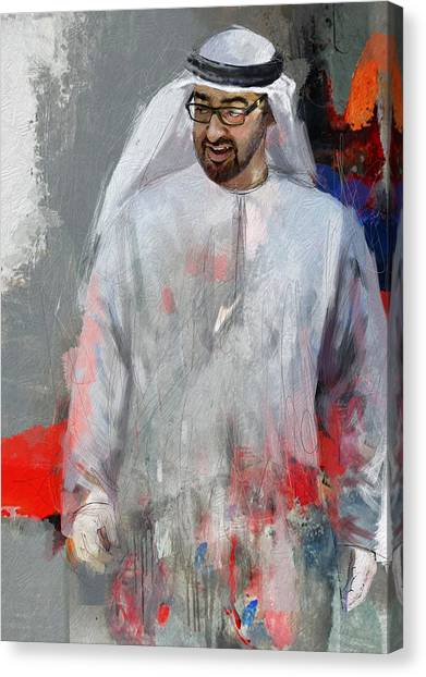 Emir Canvas Print - Portrait Of Abdullah Bin Zayed Al Nahyen 6 by Maryam Mughal