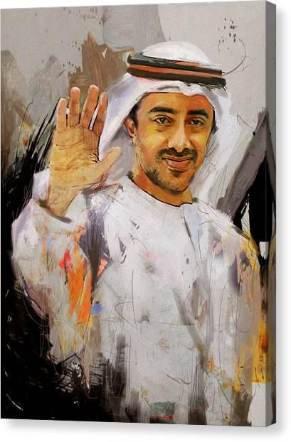 Emir Canvas Print - Portrait Of Abdullah Bin Zayed Al Nahyen  by Maryam Mughal