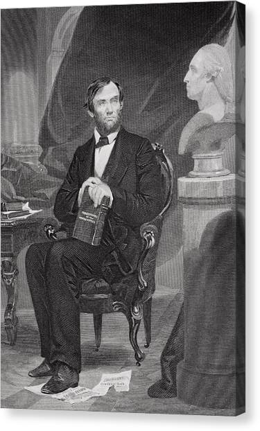 Republican Politicians Canvas Print - Portrait Of Abraham Lincoln by Alonzo Chappel