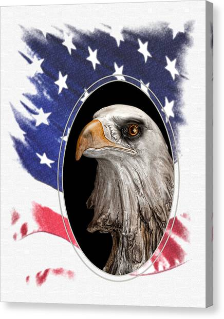 American Flag Canvas Print - Portrait Of America by Tom Mc Nemar