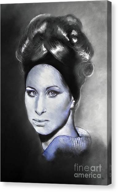 Ballpoint Pens Canvas Print - Portrait Of Barbra Streisand Ballpoint Pen And Charcoal by Maja Sokolowska