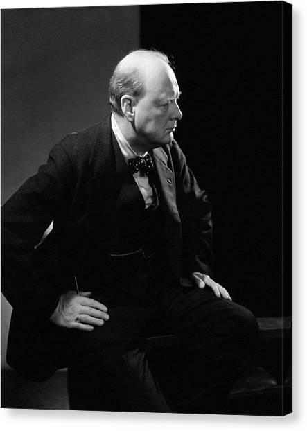 Portrait Of British Prime Minister Winston Canvas Print
