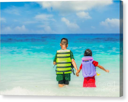 Portrait Of Children In Life-jackets  Canvas Print
