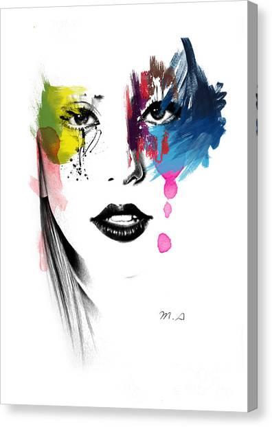 Digital Watercolor Canvas Print - Portrait Of Colors   by Mark Ashkenazi