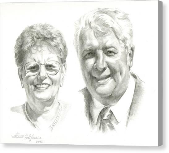 Portrait Of Couple. Commission. Canvas Print