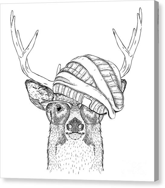Elk Canvas Print - Portrait Of Deer In A Hat. Vector by Sunny Whale