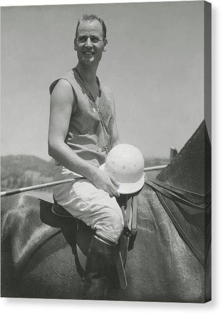 Portrait Of Eric Pedley Sitting On A Horse Canvas Print