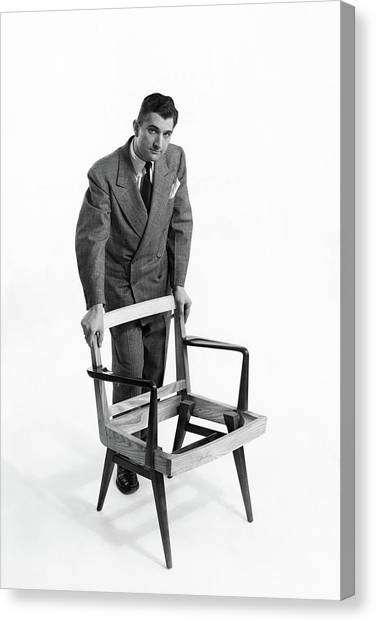 Portrait Of Furniture Designer Jens Risom Canvas Print by Herbert Matter