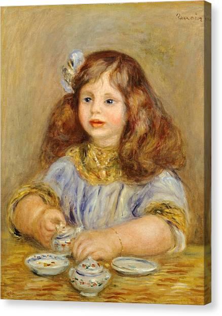 Tea Set Canvas Print - Portrait Of Genevieve Bernheim De Villiers by Pierre-Auguste Renoir