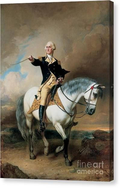 War Horse Canvas Print - Portrait Of George Washington Taking The Salute At Trenton by John Faed