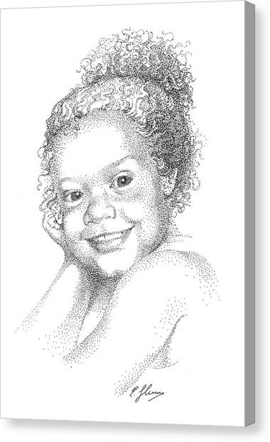 Portrait Of Girl. Commission. Stippling In Black Ink Canvas Print