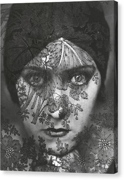 Portrait Of Gloria Swanson Behind Lace Canvas Print