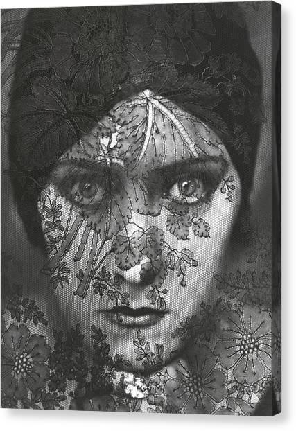 Portrait Of Gloria Swanson Behind Lace Canvas Print by Edward Steichen