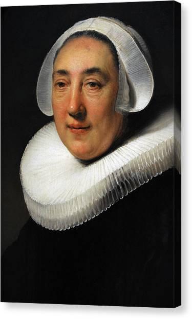 Rijksmuseum Canvas Print - Portrait Of Haesje Jacobsdr Van Cleyburg, 1634, By Rembrandt 1606-1669 by Bridgeman Images