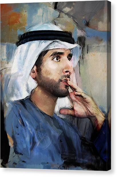 Emir Canvas Print - Portrait Of Hamdan Bin Mohammad Bin Rashid Al Maktoum by Maryam Mughal