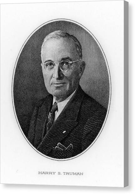 Harry Truman Canvas Print - Portrait Of Harry S Truman (1884-1972) by Mary Evans Picture Library