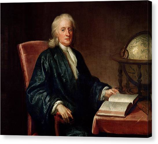Academic Art Canvas Print - Portrait Of Isaac Newton by Enoch Seeman