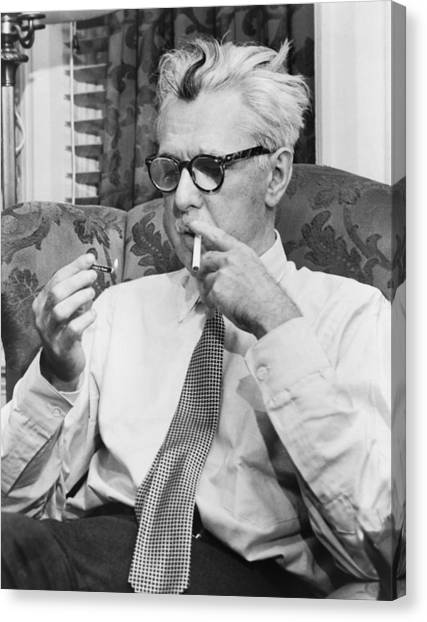 Cartoonist Canvas Print - Portrait Of James Thurber by Fred Palumbo