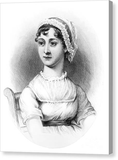 English And Literature Canvas Print - Portrait Of Jane Austen by English School