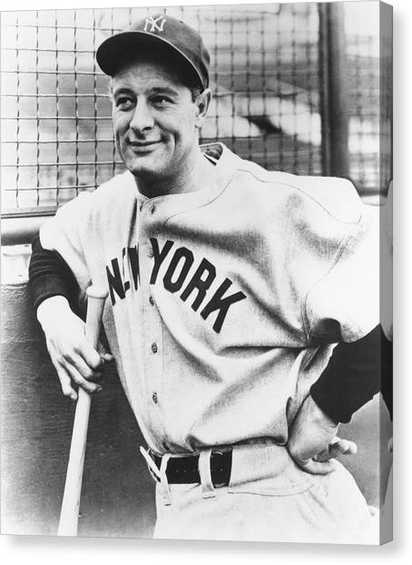 Baseball Players Canvas Print - Portrait Of Lou Gehrig by Underwood Archives