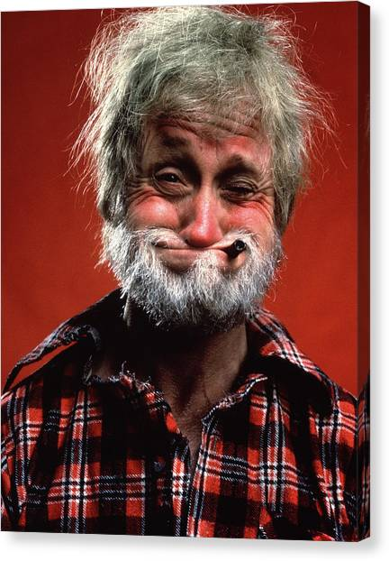 Flannel Canvas Print - Portrait Of Man Character Hillbilly by Vintage Images