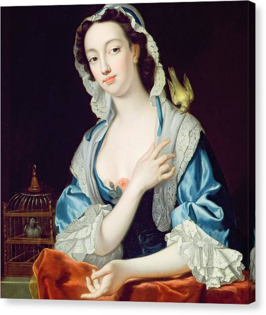 Canaries Canvas Print - Portrait Of Peg Woffington by Jean-Baptiste van Loo