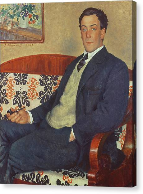 Nobel Canvas Print - Portrait Of Peter Kapitza 1926 by Boris Mihajlovic Kustodiev