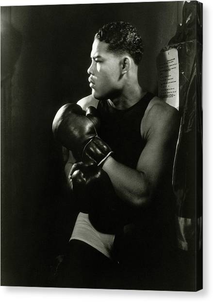 Portrait Of Professional Boxer Joe Louis Canvas Print by Lusha Nelson