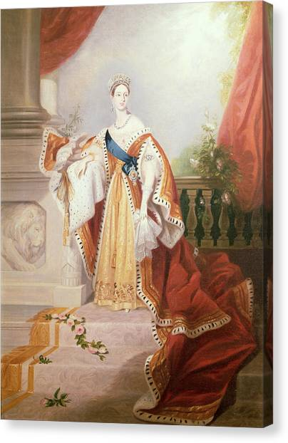 Rulers Canvas Print - Portrait Of Queen Victoria by Alfred-Edward Chalon