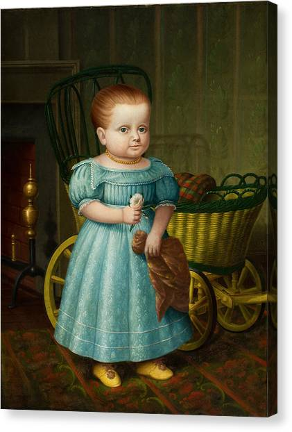 Canvas Print featuring the painting Portrait Of Sally Puffer Sanderson by Deacon Robert Peckham