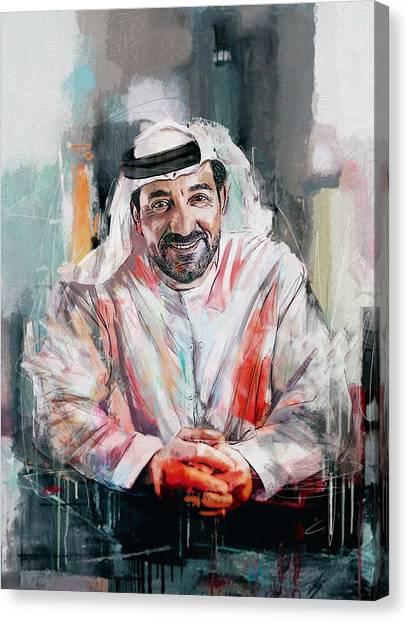 Emir Canvas Print - Portrait Of Sheikh Ahmed Bin Saeed Al Maktoum  by Maryam Mughal