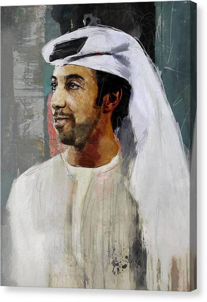 Emir Canvas Print - Portrait Of Sheikh Mansour by Maryam Mughal