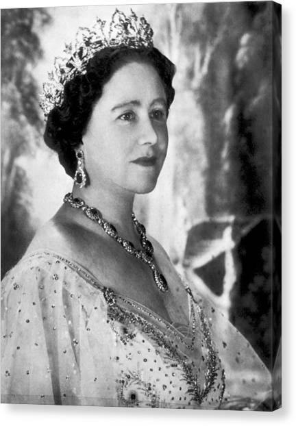 Queen Elizabeth Canvas Print - Portrait Of The Queen Mother by Underwood Archives
