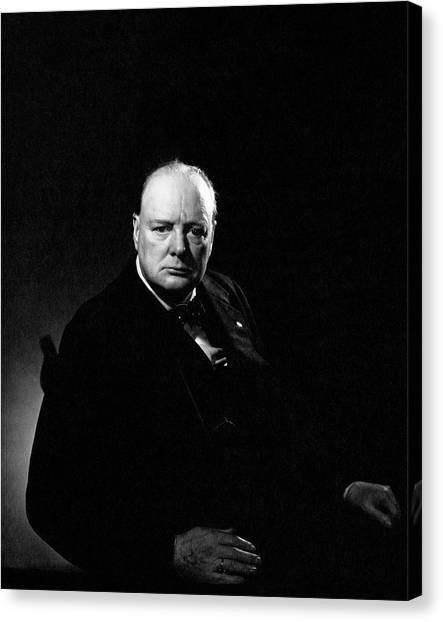 Portrait Of Winston Churchill Canvas Print