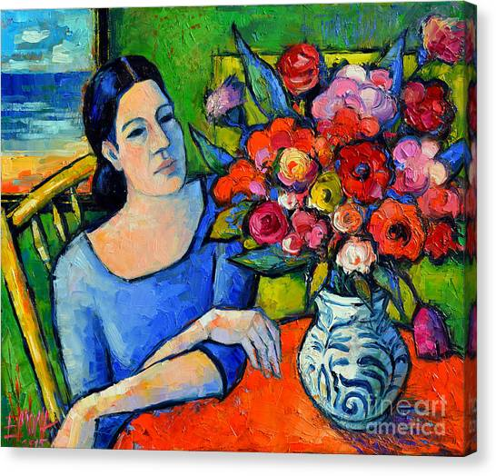 Abstract Seascape Canvas Print - Portrait Of Woman With Flowers by Mona Edulesco