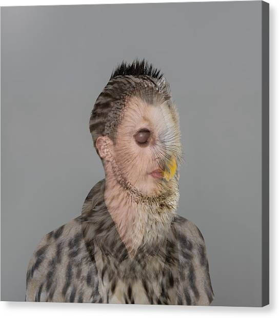 Portrait Of Young Man With Owl Overlay Canvas Print