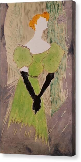 Redhead Canvas Print - Portrait Of Yvette Guilbert by Henri de Toulouse-Lautrec