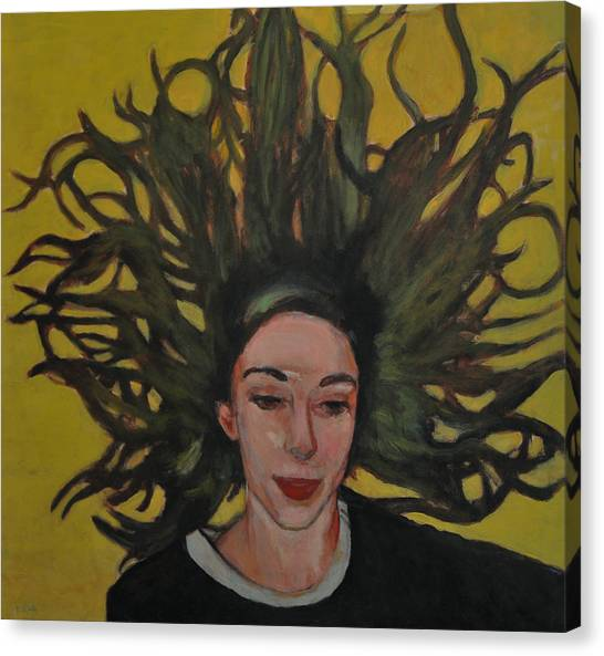 Portrait On Yellow Canvas Print by Roberto Del Frate