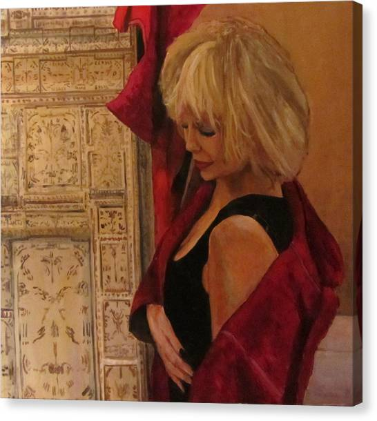 Portrait With Screen Canvas Print by Roberto Del Frate