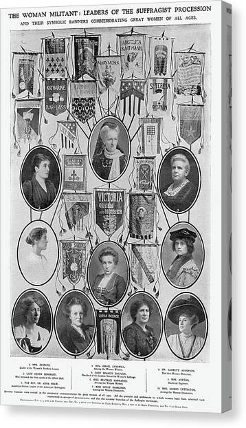 Womens Rights Canvas Print - Portraits Of Various Campaigners by  Illustrated London News Ltd/Mar