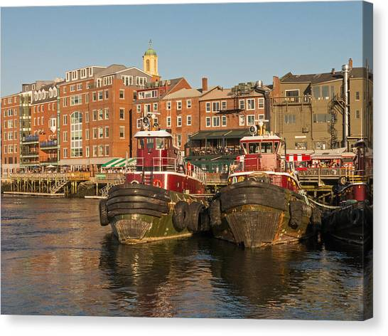 Portsmouth Harbor With Tugboats Canvas Print