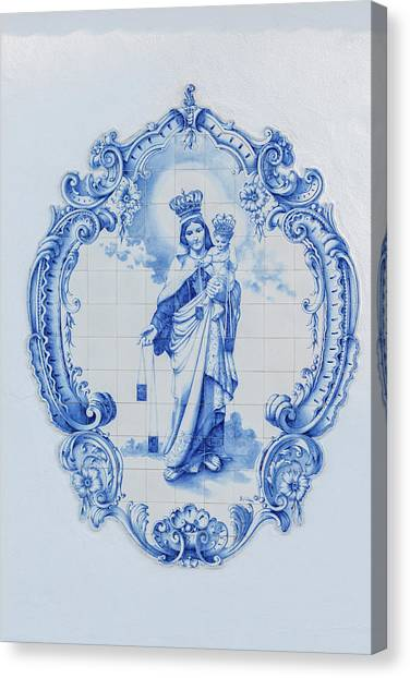 Ceramic Glazes Canvas Print - Portugal, Lisbon, Azulejo On Facade by Jim Engelbrecht