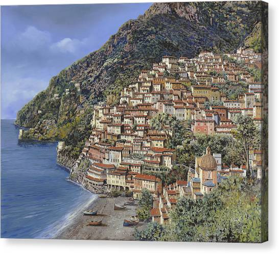 Coast Canvas Print - Positano E La Torre Clavel by Guido Borelli