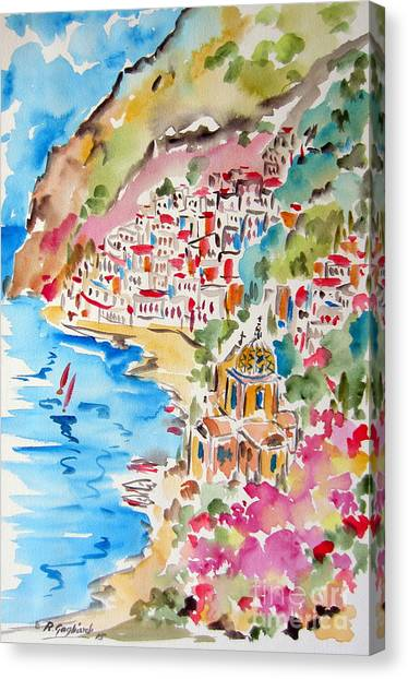 Positano Water Color Canvas Print
