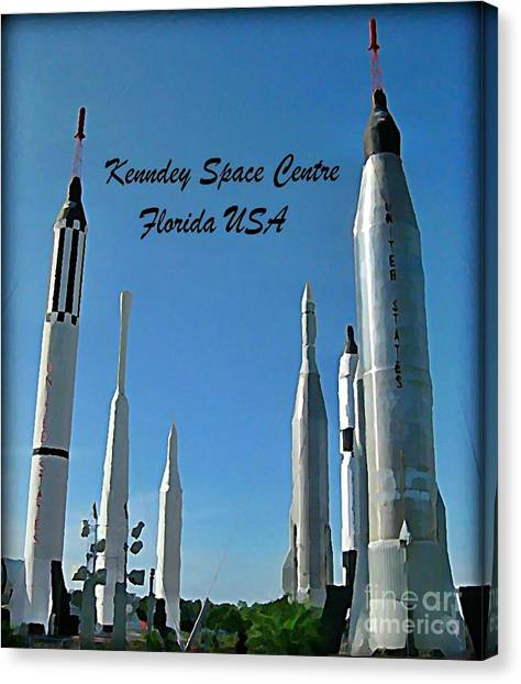 Missles Canvas Print - Post Card Of The Kennedy Space Centre Florida by John Malone