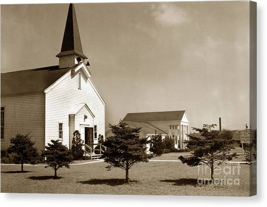 Post Chapel And Red Cross Building Fort Ord Army Base California 1950 Canvas Print