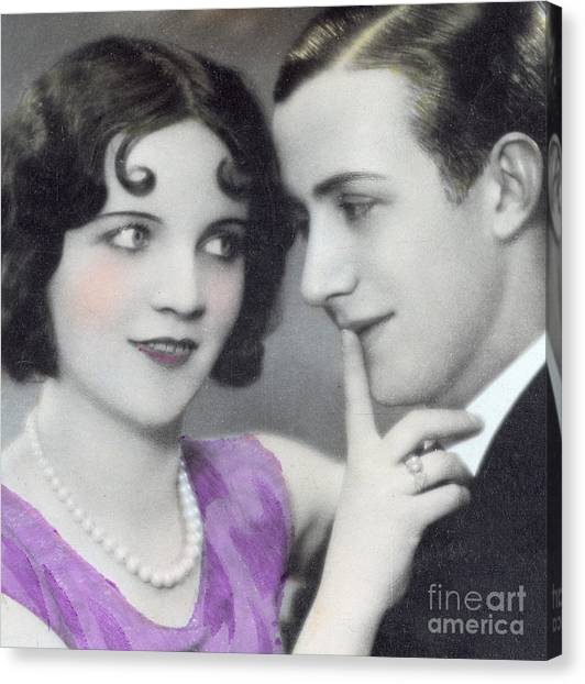 Lovers Canvas Print - Postcard Depicting Two Lovers by Italian School